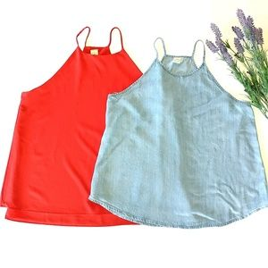 Anthropologie Set Two Paper Crane Large Tank Tops
